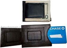 Lot of 2 Leather money Clip, Money holder, Black/Brown money clip card case bnwt