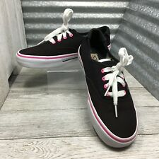 Skechers Girls Size 5Y Bobs Black Textile Skateboard Pink Trim Lace Up