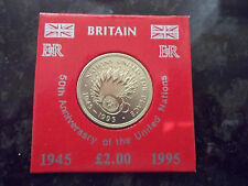 1995 £2 TWO POUNDS UNITED NATIONS  COIN UNC.IN PRESENTATION CARD & HARD CASE