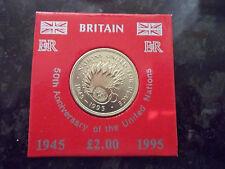 1995 £ 2 dos libras moneda UNC. de las Naciones Unidas en Estuche Rígido & Tarjeta De Presentación