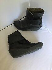 FLY London Rada Ladies Black Leather Wedge Ankle Boots Size EU 38 UK 5