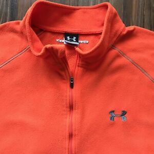 Under Armour Base 1/4 Zip long sleeve Fleece shirt Jacket Orange Sz. XXL EUC