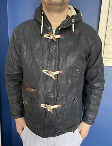 MENS DESIGNER MARSHALL ARTIST 01 100% WAX COATED NAVY BLUE COAT SIZE UK M