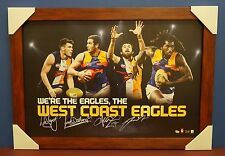West Coast Eagles Signed AFL Print BROWN Frame Darling Naitanui Kennedy Shuey