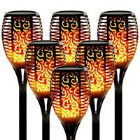 6 PACK Solar Torch Flame Dancing Light LED Flickering Flame Lamp Outdoor Garden