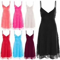 Womens Skater Dress Ladies Cami Strappy Swing Mini Dress Floral Lace Front Wrap