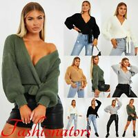 Womens Chunky Cable Knitted Cardigan Ladies Baggy Cropped Open Pocket Jumper UK