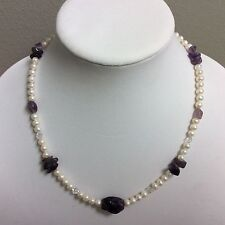 Semi-round Cultured Freshwater Pearl And Amethyst Nugget Necklace 19""