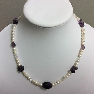 """Semi-round Cultured Freshwater Pearl And Amethyst Nugget Necklace 19"""""""