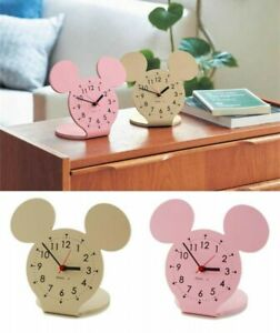 Disney Mickey Mouse Motif Natural Wood Table Clock From Japan with Tracking