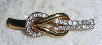 Vintage A & S Atwood Sawyer Rhinestone Love Knot Brooch Pin Gold Tone