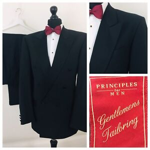 Mens Suit Tuxedo Dinner Evening 40L 34W 31L Black Double Breasted  P124
