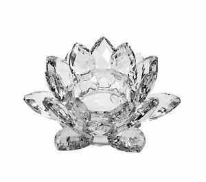 Clear Crystal Lotus Tealight Candle Holder 4.5 inch in Gift Box  USA SELLER!!