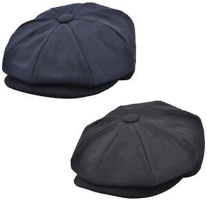Mens Newsboy Cap Peaked Flat Caps Plain Baker Boy Cap Peaky Blinders Style Hats