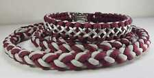 Burgundy with Silver Thread Paracord Dog Collar - Handmade to Measure