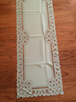 Heritage Lace Rectangular Polyster Pear Green Battenburg Design Runner (777)