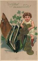 1908 VINTAGE EMBOSSED GERMAN GIRL CHILD & LUCKY WALLET PURSE FULL COINS POSTCARD