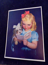 "Roy Best ""Learning By Doing"" Girl Puppy Large Salesman Sample Calendar Print 40s"