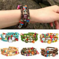 Bohemian Ethnic Wind Starfish Elastic Beads Bracelet Shell Leaves Women Jewelry