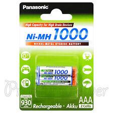 2 x Panasonic AAA batteries 1000 930mAh Ni-MH Rechargeable High capacity Pack