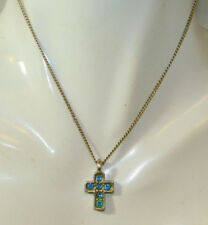 """Sterling Silver Blue Topaz Simple Cross Pendant 16"""" Curb Chain Necklace 8g 8"""