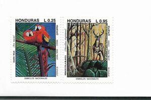 HONDURAS 1993 PARROTS & VENADO FAUNA SET OF 2 WILDLIFE TREES SET OF 2 MINT NH