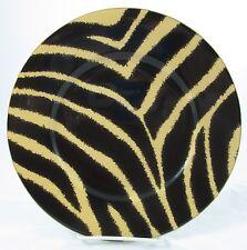 "2 Ralph Lauren SAFARI ZEBRA Black Gold Stripes Salad Dessert Plates 8 5/8"" RARE"