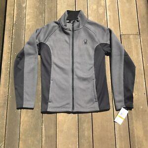 Spyder Men's Constant Full Zip Sweater Jacket Grey Black Size Small