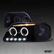 New Glossy Black 1997-2003 Ford F150 Halo Ring LED Projector Headlights Lamps