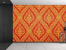 Traditional Thai painting in red and gold- Wall Mural, Removable Sticker-100x144