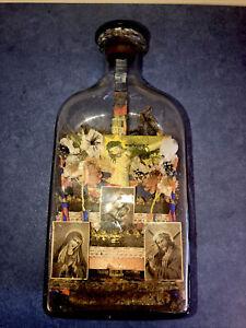 Antique Whimsey Religious  Shrine Diorama Bottle, Circa 1894 Austro-Hungarian