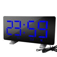 Digital LED Mirror Display Alarm Clock USB Charging Desk Table  Snooze Timer