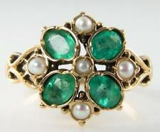 UNUSUAL 9CT GOLD COLOMBIAN EMERALD & PEARL LEAF RING FREE RESIZE