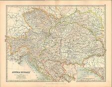 1911 LARGE VICTORIAN MAP ~ AUSTRIA-HUNGARY BOSNIA TYROL ~ INSET DALMATIA