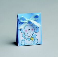 Lot de 10 boites dragée pochon bb éléphant bleu+ruban baptême mariage communion