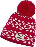 Puma Graphic Bobble Hat Red White Stylish Beanie Winter Fashion Mens Womens
