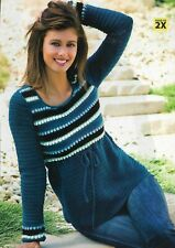 Striped Yoke Top Sweater 5 Sizes Women'S Crochet Pattern Instructions