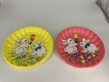 Two Vintage  Berman industries Easter Scalloped Molded Plastic Bunny Plates
