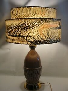 Vintage Mid Century Modern Lt Brown/ Gold Table Lamp & 2 Tier Fiberglass Shade