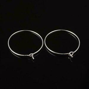 25 Silver Plated Brass Lead-safe 20,25,30,35mm Earwire Hoops ~ Wine Charm Rings