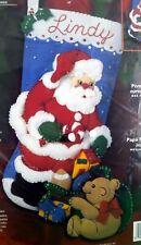 "Bucilla 84946 Felt Christmas Stocking Kit 18""-""Santa & Playful Bear"" NIP"