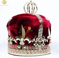 Men's Pageant Red Velvet Imperial Medieval Gold King Crown Wedding Royal T1728