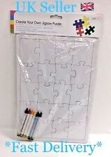 Create Your Own Jigsaw Puzzle With 6 Wax Crayons Kids Age 3+ 30x21cm UK Seller