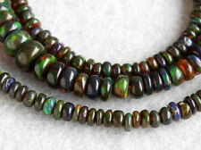 Natural Ethiopian Welo Black Opal Flashing Fire Smooth Rondelle Gemstone Beads