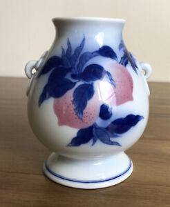 japanese Koransha Fukagawa peach Vase Blue And White Arita Japan Lotus Mark