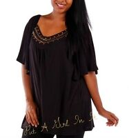 PLUS SIZE BASIC SOLID BLACK or BROWN STUDDED BELL SLEEVE SHIRT TUNIC 1X 2X 3X