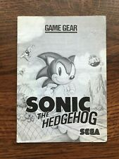 Sonic the Hedgehog Original Sega Game Gear Instruction Manual Only