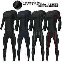 Mens Compression Tights + Shirt Base Layer Thermal Pant Under Full Suit BLACK