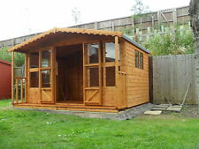 "12x8 +2ft porch (12x10) summer house 13mm cladding t+g 3""X2 frame 1""thick floor"
