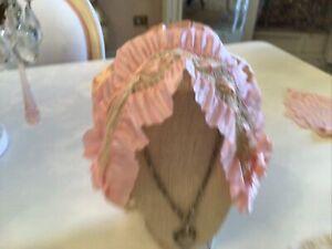 Vtg Antique Pink Satin Ruffle Victorian  Bonnet Hat Net Lace bows